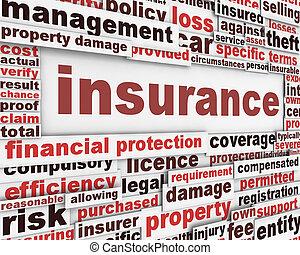 verzekering, boodschap, concept