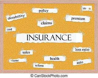 verzekering, corkboard, woord, concept