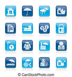verzekering, en, verantwoordelijkheid, iconen
