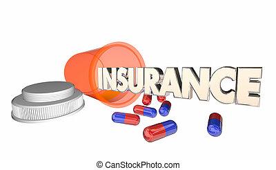 verzekering, geneeskunde, dekking, recept, fles, 3d,...