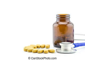 verzekering, hoofd, concept, pil, help., medisch, bescherming, leven, gezondheid, gezonde , stethoscope, care, stapel, of, preventie, closeup.