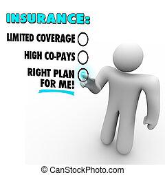 verzekering, keuzes, rechts, plan, vs, begrensd, dekking,...