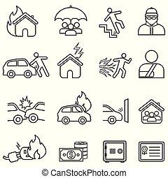 verzekering, lijn, pictogram, set