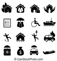 verzekering, pictogram, set