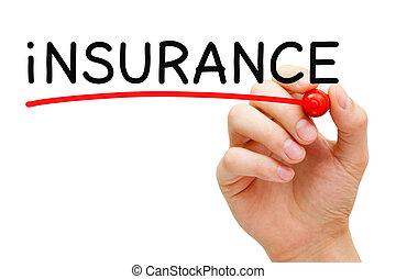 verzekering, rood, teken