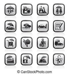verzekering, verantwoordelijkheid, iconen