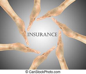 verzekering, woord, centrum, hand