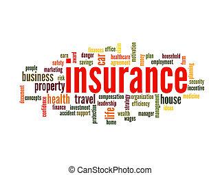 verzekering, woord, wolk, concept