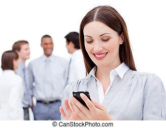 verzending, het glimlachen, tekst, businesswoman