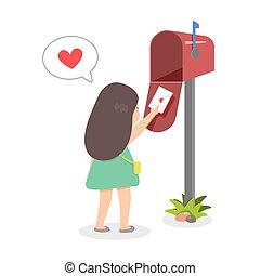verzending, meisje, liefde brief
