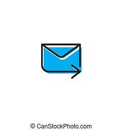 verzending, vrijstaand, vector, achtergrond, boodschap, witte , pictogram