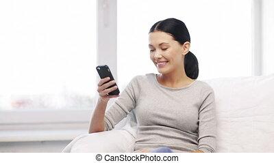 verzending, vrouw, tekst, mobiele telefoon, boodschap