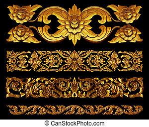 verzierung, elemente, weinlese, gold, blumen-, entwürfe