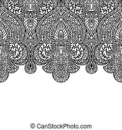 verzierung, seamless, hand, indische , ethnisch, gezeichnet...