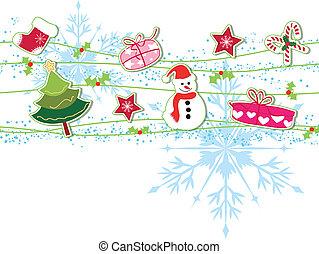 verzierung, weihnachtskarte, gruß