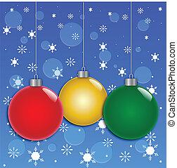 verzierungen, weihnachten, hintergrund