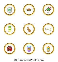 verzorgen, iconen, set, spotprent, stijl
