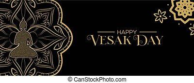 Vesak Day banner of gold lotus flower and buddha