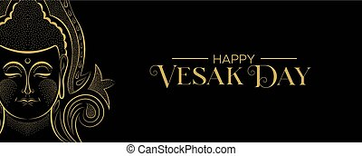 Vesak Day banner of traditional gold buddha face