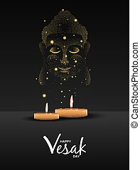 Vesak Day card of candles and gold buddha face