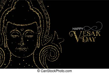 Vesak Day card of gold glitter buddha face