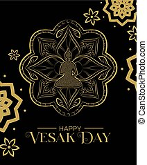 Vesak Day card of gold lotus flower and buddha