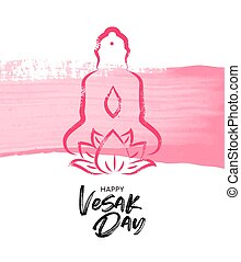 Vesak Day card of pink Buddha with lotus flower
