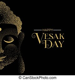 Vesak Day greeting card of gold buddha face