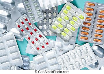 vescica, medico, pillole, fondo, scrivania verde