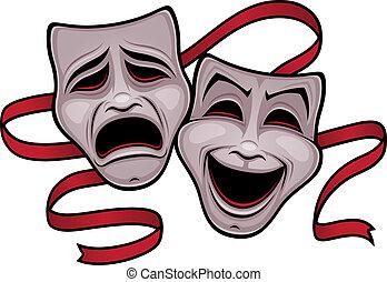 veselohra, divadlo, tragédie maskování