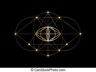 Vesica piscis gold Sacred geometry. All Seeing eye, the ...