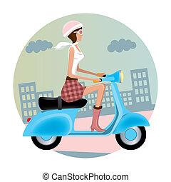Vespa Girl. Illustration vector.