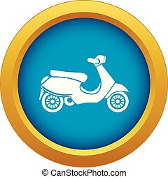 Vespa scooter icon blue vector isolated on white background...