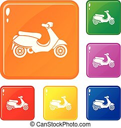 Vespa scooter icons set vector color - Vespa scooter icons...