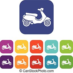 Vespa scooter icons set