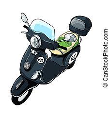 vespa scooter illustration - black vespa scooter...