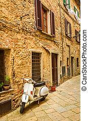 vespa, sur, a, petit, rue, dans, les, vieille ville, italie