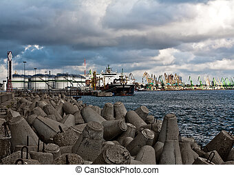 Vessel at the petroleum terminal port - Vessel moored at the...