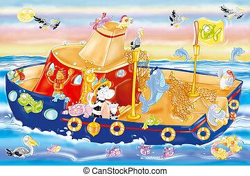 vessel, boat, sea, sky