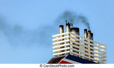 Vessel chimneys releasing smoke. - Naval maritime sea...
