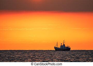 Vessel on the Baltic Sea in Warnemuende, Germany.