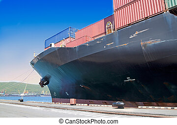 Vessel under loading - Vessel fore , loading of containers...