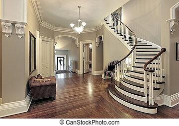 vestíbulo, con, curvo, escalera