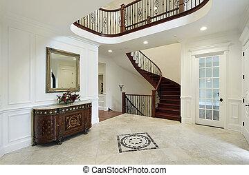 vestíbulo, con, piso, diseño