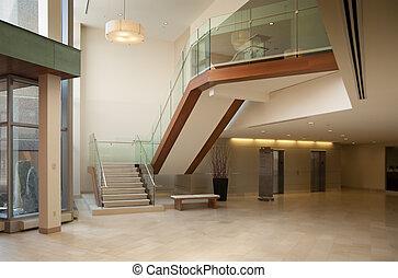 vestíbulo, en, un, edificio moderno