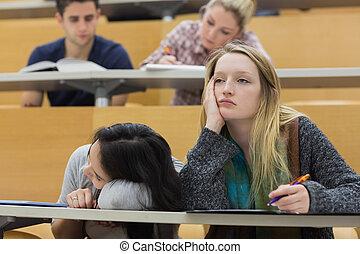 vestíbulo, estudiantes, conferencia, demotivated