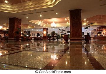 vestíbulo, hotel, moderno, piso de mármol