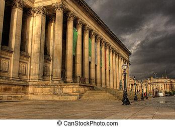 vestíbulo, liverpool, hdr, c/, columnas, georges
