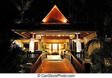 vestíbulo, noche, iluminación, en, el, lujo, hotel, phuket,...