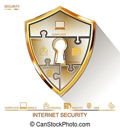 vestíbulo, protector, rompecabezas,  vector, llave,  internet, Seguridad